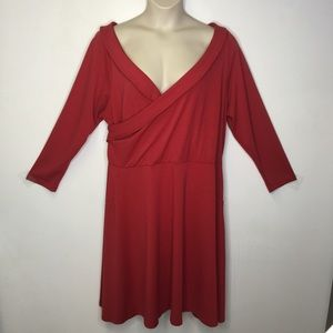 Eloquii red faux wrap bodice dress long sleeves